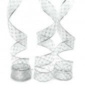 Лента декоративная (6 см*2,74 м) Ассорти дизайнов, Органза, Серебро, 1 шт.