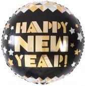 Шар (18''/46 см) Круг, С Новым Годом! (звездное диско), Черный, 1 шт.