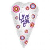 Шар (26''/66 см) Сердце, Люблю тебя (летящие сердца), Белый, 1 шт.