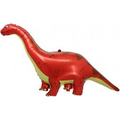 Шар (51''/130 см) Фигура, Динозавр Диплодок, Красный, 1 шт.