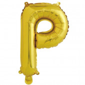 Шар с клапаном (16''/41 см) Мини-буква, Р, Золото, 1 шт. в упак.