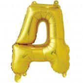Шар с клапаном (16''/41 см) Мини-буква, Д, Золото, 1 шт. в упак.