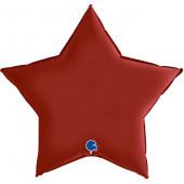 Шар (36''/91 см) Звезда, Рубиново-красный, Сатин, 1 шт.