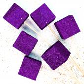 Фигура из пенопласта Куб, Фиолетовый, Металлик, 3 см, с блестками, 6 шт.
