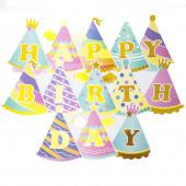 Гирлянда Флажки, Happy Birthday (яркие колпаки и короны), Ассорти, Металлик, 210 см, 1 шт.