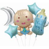 Набор шаров (33''/84 см) С Рождением Малыша Мальчика, Голубой, 5 шт. в упак.
