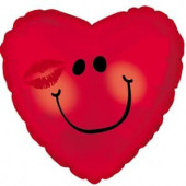 Шар (9''/23 см) Мини-сердце, Смайл с поцелуем, Красный, 1 шт.