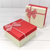 Набор коробок Элегантный бант, Красный, 19*19*9 см, 3 шт.