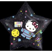 Шар (22''/56 см) Звезда, Hello Kitty, Космонавт, Черный, 1 шт. в упак.