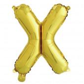Шар с клапаном (16''/41 см) Мини-буква, Х, Золото, в упаковке 1 шт.