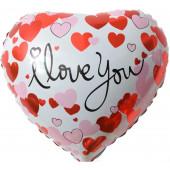 Шар (18''/46 см) Сердце, Я Люблю Тебя (сердечки), Белый, 1 шт.