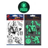 Наклейки-татуировки Человек Паук, набор №1, флюор, 11*20 см, 1 шт.
