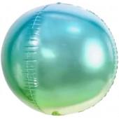Шар (24''/61 см) Сфера 3D, Светло-зеленый/Голубой, Градиент, 1 шт.