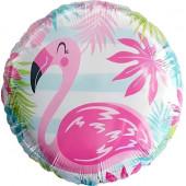 Шар (18''/46 см) Круг, Фламинго, голубые полосы, 1 шт.