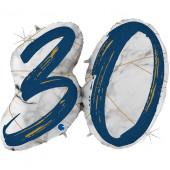 Шар (43''/109 см) Цифра, 30 Мрамор Калакатта, Синий, Голография, 1 шт.