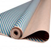 Упаковочная бумага, Крафт 70гр (0,7*10 м) Экошик, Диагонали, Голубой, 1 шт.