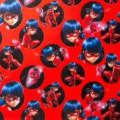 Упаковочная бумага (0,7*1 м) Леди Баг и Супер-кот, Красный, 2 шт.