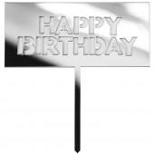 Топпер в торт, Happy Birthday, Сере...