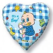 Шар (18''/46 см) Сердце, Новорожденный мальчик, Голубой, 1 шт.