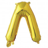 Шар с клапаном (16''/41 см) Мини-буква, Л, Золото, 1 шт. в упак.
