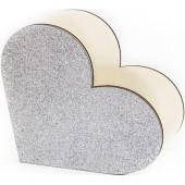 Декоративный ящик Сердце, Серебро, с блестками, 20*10*19 см, 1 шт.