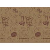 Упаковочная бумага, Крафт 70гр (0,7*10 м) Мишки Тедди, Коричневый, 1 шт.