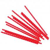 Трубочки для коктейлей, Белые точки, Красный, 12 шт.