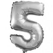 Шар с клапаном (16''/41 см) Мини-цифра, 5, Серебро, 1 шт.
