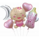 Набор шаров (33''/84 см) С Рождением Малышки Девочки, Розовый, 5 шт. в упак.