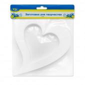 Фигура из пенопласта Сердце, Вензель, Белый, 20 см, 1 шт.