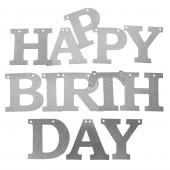 Гирлянда Happy Birthday, Серебро, с блестками, 11*150 см, 1 шт.