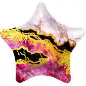 Шар (19''/48 см) Звезда, Мрамор, Розовый, 1 шт.