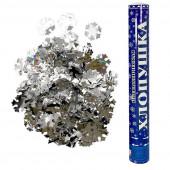 Пневмохлопушка (16/40 см), Металлизированные снежинки, Серебро, 1 шт.
