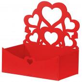 Декоративный ящик Узорные сердца, Красный, 21*12*22 см, 1 шт.