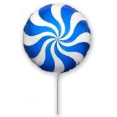 Шар (9''/23 см) Мини-круг, Леденец, Синий, 1 шт.