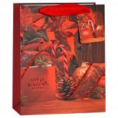 Пакет подарочный, Счастливого Рождества (пуансетия), Красный, с блестками, 23*18*10 см, 1 шт.