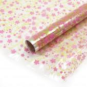 Упаковочная пленка (0,7*8 м) Оливия, Розовый/Салатовый, 1 шт.