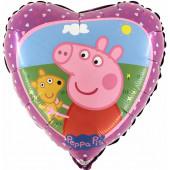 Шар (18''/46 см) Сердце, Свинка Пеппа, 1 шт.