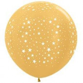 Шар (36''/91 см) Звезды, Золото яркое (570), металлик, 5 ст, 10 шт.