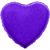 Шар (18''/46 см) Сердце, Фиолетовый, Голография, 1 шт.