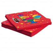 Салфетки, С Днем Рождения (торт и шарики), Красный, 33*33 см, 20 шт.