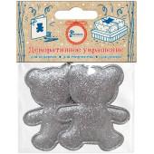 Декоративное украшение Фигура, Медвежонок, Серебро, 4,7*5,7 см, с блестками, 2 шт.