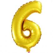 Шар с клапаном (16''/41 см) Мини-цифра, 6, Золото, 1 шт.