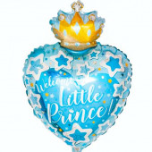 Шар (24''/61 см) Сердце, С Днем Рождения, Маленький Принц, Голубой, 1 шт.