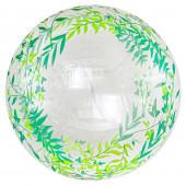 Шар (20''/51 см) Сфера 3D, Deco Bubble, Зеленые листья, Прозрачный, 1 шт. в упак.