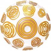 Шар (20''/51 см) Сфера 3D, Deco Bubble, Золотые круги, Прозрачный, 1 шт. в упак.