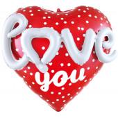 Шар (25''/64 см) Сердце, Love (признание в любви), Красный, 1 шт. в упак.
