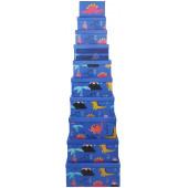 Набор коробок Яркие динозаврики, Синий, 28*36*16 см, 10 шт.