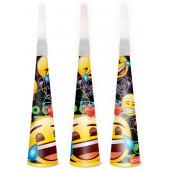 Горны Смайл, Emoji, Черный, 20 см, 6 шт