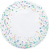 Шар (20''/51 см) Сфера 3D, Deco Bubble, Разноцветное конфетти, Прозрачный, 1 шт. в упак.